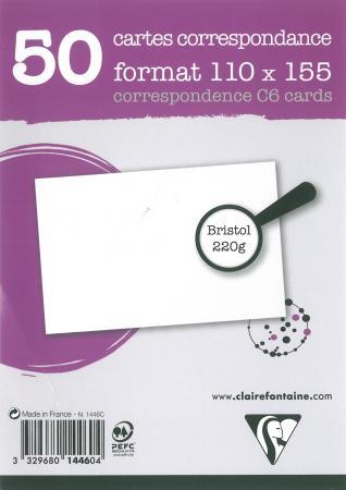 Sachet De 50 Cartes Bristol Blanc 110x155 220 G Mimage 1
