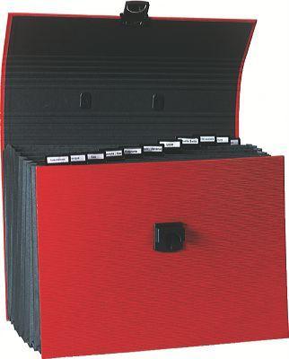 Exacompta 55616e trieur extensible familial 12 compartiments coloris roug - Rangement papiers administratifs ...