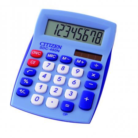 citizen 72410 34 calculatrice de table petit format sdc 450nblcfs coloris bleu clair. Black Bedroom Furniture Sets. Home Design Ideas