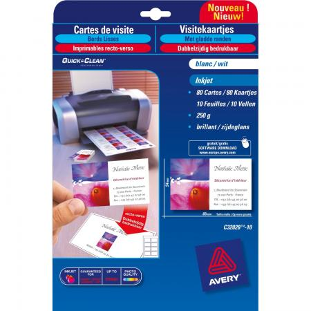 80 Cartes De Visite QuickClean R V Bords Lisses Recto Brillant Verso Mat