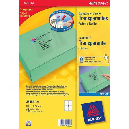 Avery j8565 25 200 tiquettes jet d 39 encre transparentes for 99 1 x 67 7 mm label template