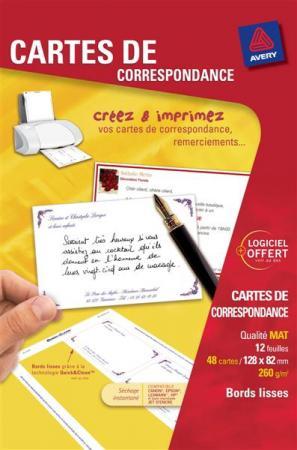 48 Cartes De Correspondance QuickClean R V Bords Lisses Mat Blanches 260 G