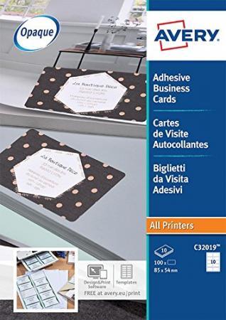 100 Cartes De Visite Autocollantes Blanc Mat 85 X 54 Mm Laser Couleur 10