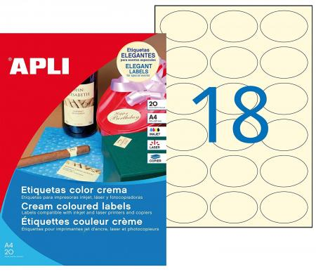 Avery SOLUB18 Pack de 18 Etiquettes solubles ovales 55 x 29 mm Blanc