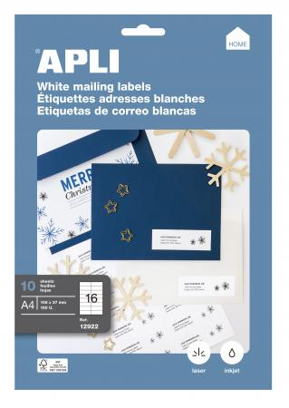 OS43423 Blanc Office Star Boite de 1600 Etiquettes Multi-Usages -105X35mm